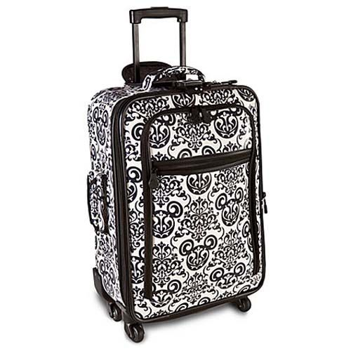 I need new luggage! Love this! Your WDW Store - Disney Rolling Luggage - Black and White Filligree Mickey Mouse - 22""