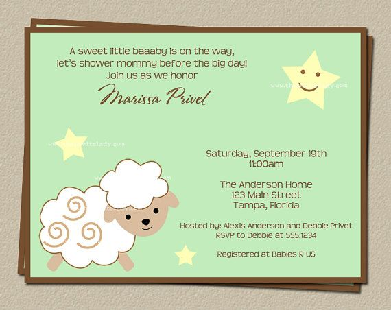 Little Lamb Baby Shower Invitations Printed By TheInviteLadyShop, $7.00