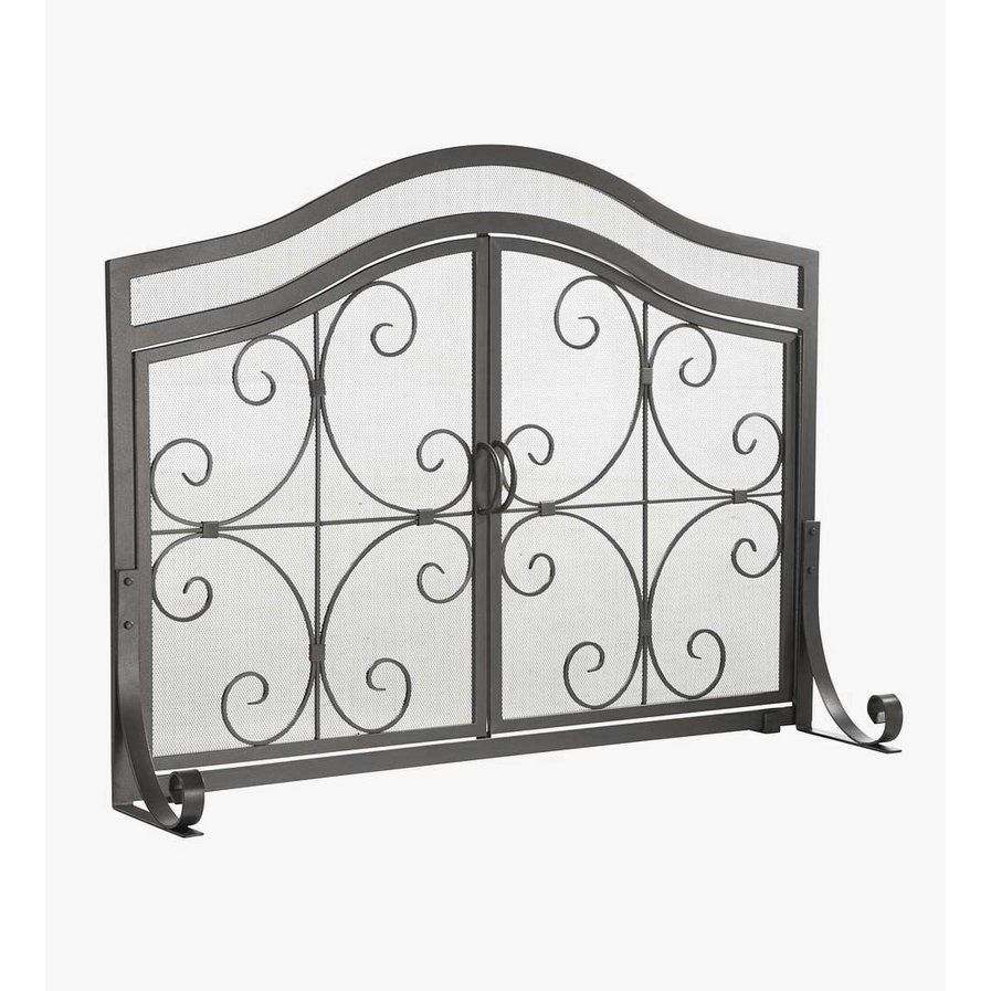 Large Single Panel Steel Fireplace Screen Fireplace Screens With