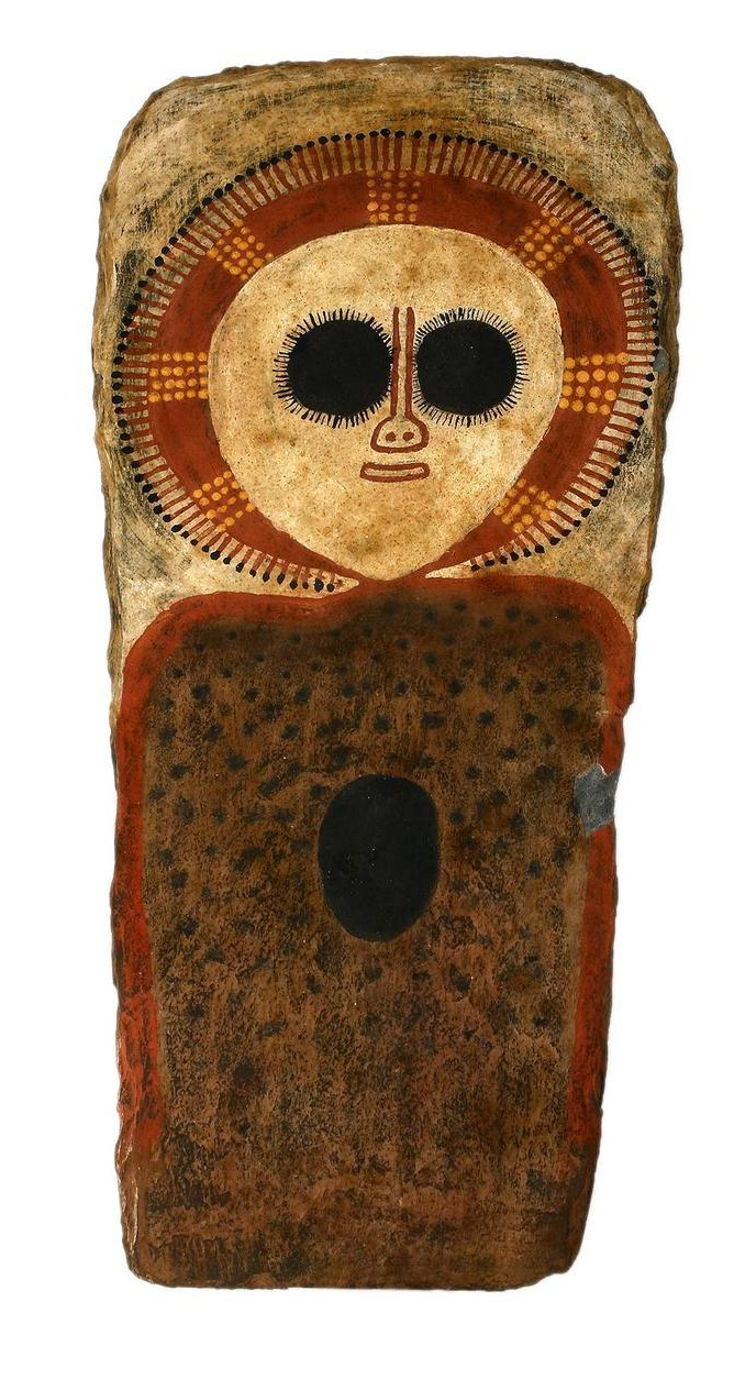 Charlie Numbulmoore (circa 1907-1971) Wanjina natural earth pigments on slate 42 x 20cm
