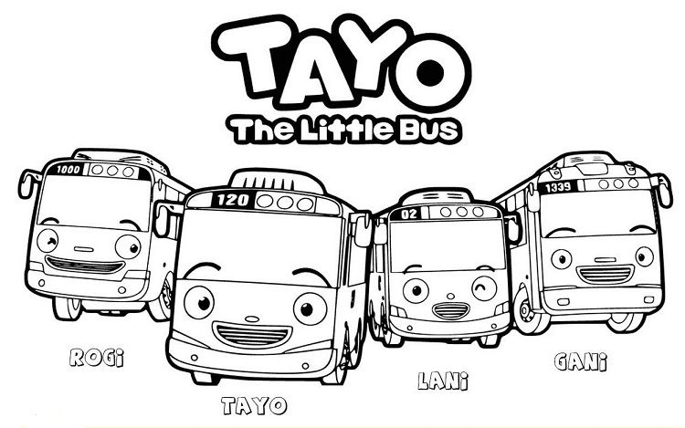 Tayo The Little Bus Colorinng Pages Tayo Para Colorear