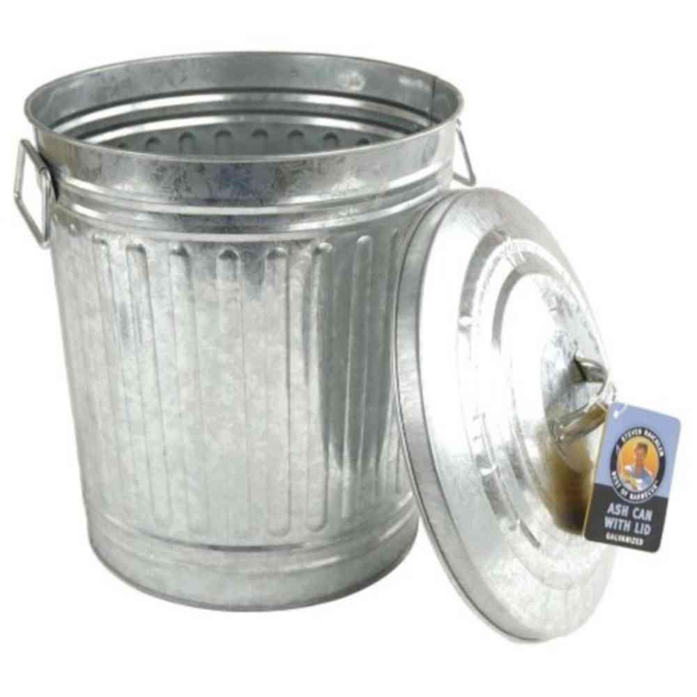 Steven Raichlen Galvanized Charcoal Or Ash Can With Lid Sr8012 Outdoor Trash Cans Barbecue Tools Steven Raichlen