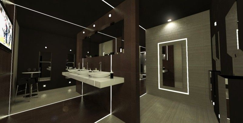 Very Modern Bathroom With Led Lighting In Nightclub Bathroom