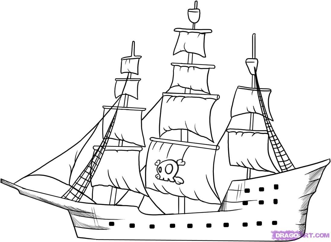 How to Draw a Pirate Ship, Step by Step, Boats, Transportation ...