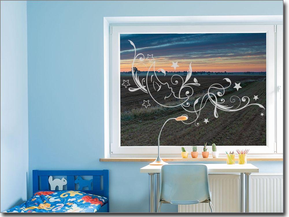 Fenstersticker kinderzimmer ~ Fensteraufkleber für kinderzimmer mond glastattoos ornamente