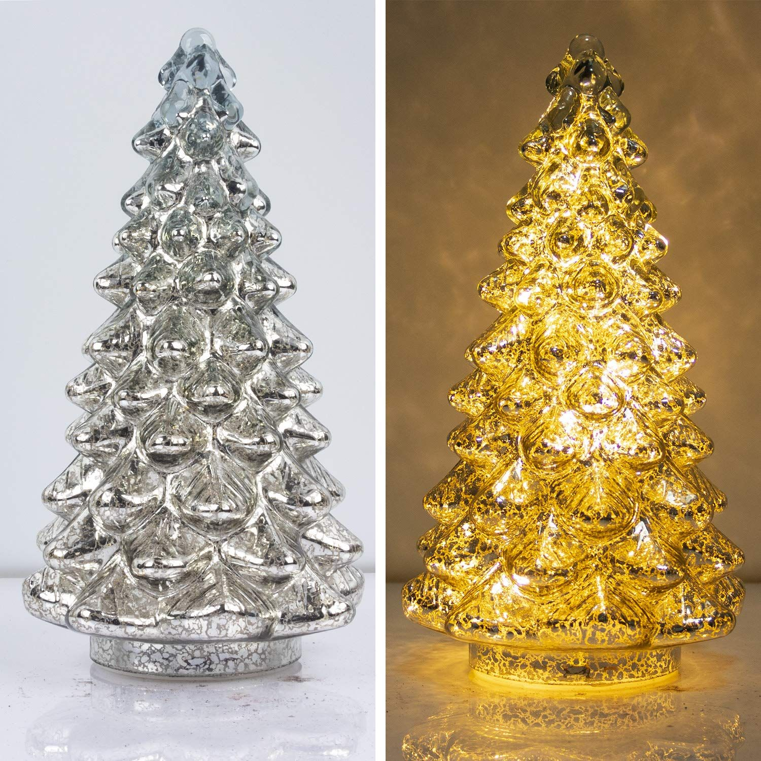 KI Store Mercury Glass Lighted Christmas Tree Figurine