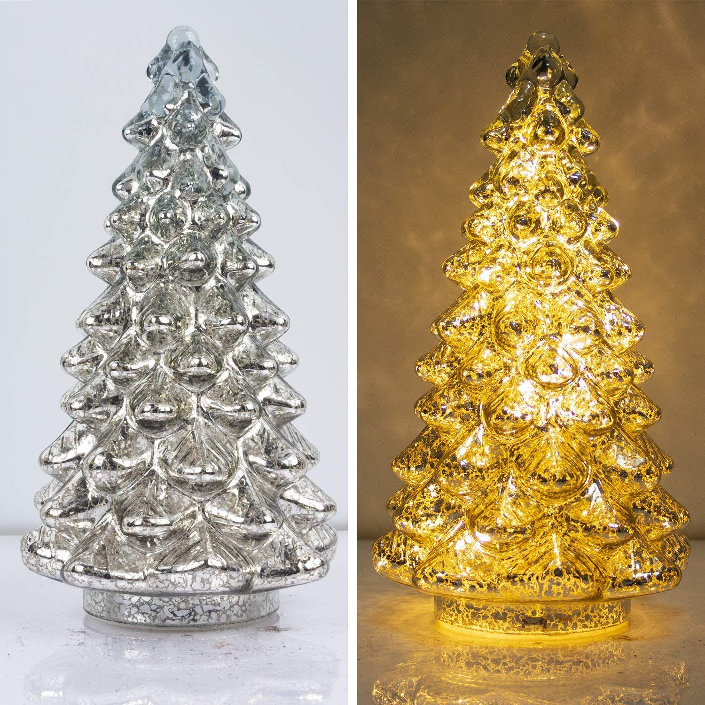 KI Store Mercury Glass Lighted Christmas Tree Figurine