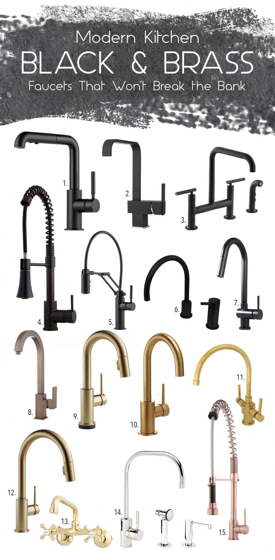 Black Brass Kitchen Faucet Mood Board Via Simply Grove Design
