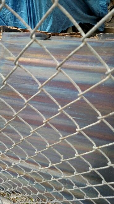 Chain link, metal and tarp