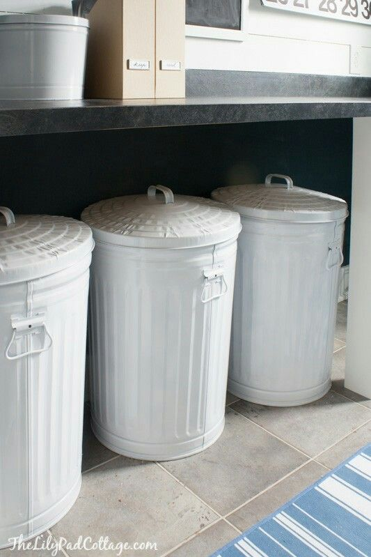 Love White Galvanized Trash Cans Laundry Room Makeover