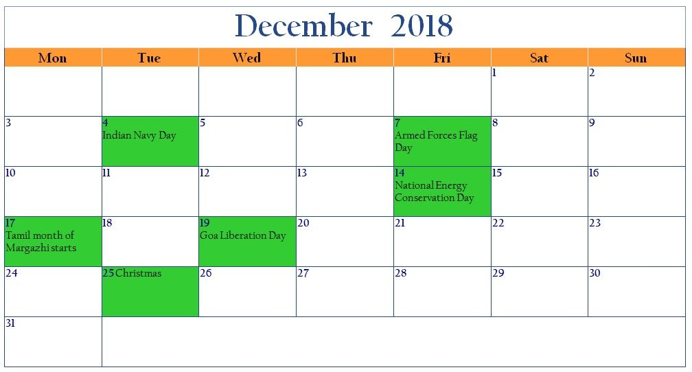 2018 December Month Beautiful Calendar With Indian Holiday And