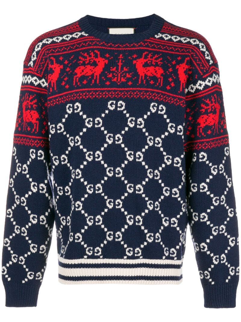 Gucci GG and reindeer jacquard sweater Blue in 2020
