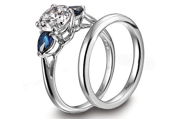 Individualist Platinum 3stone pearcut blue sapphire engagement