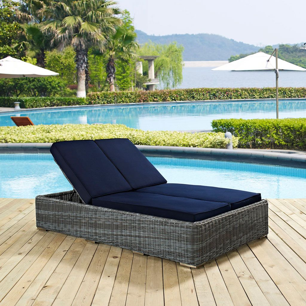 Summon Outdoor Double Chaise Lounge Multiple Finish Options Patio Chaise Lounge