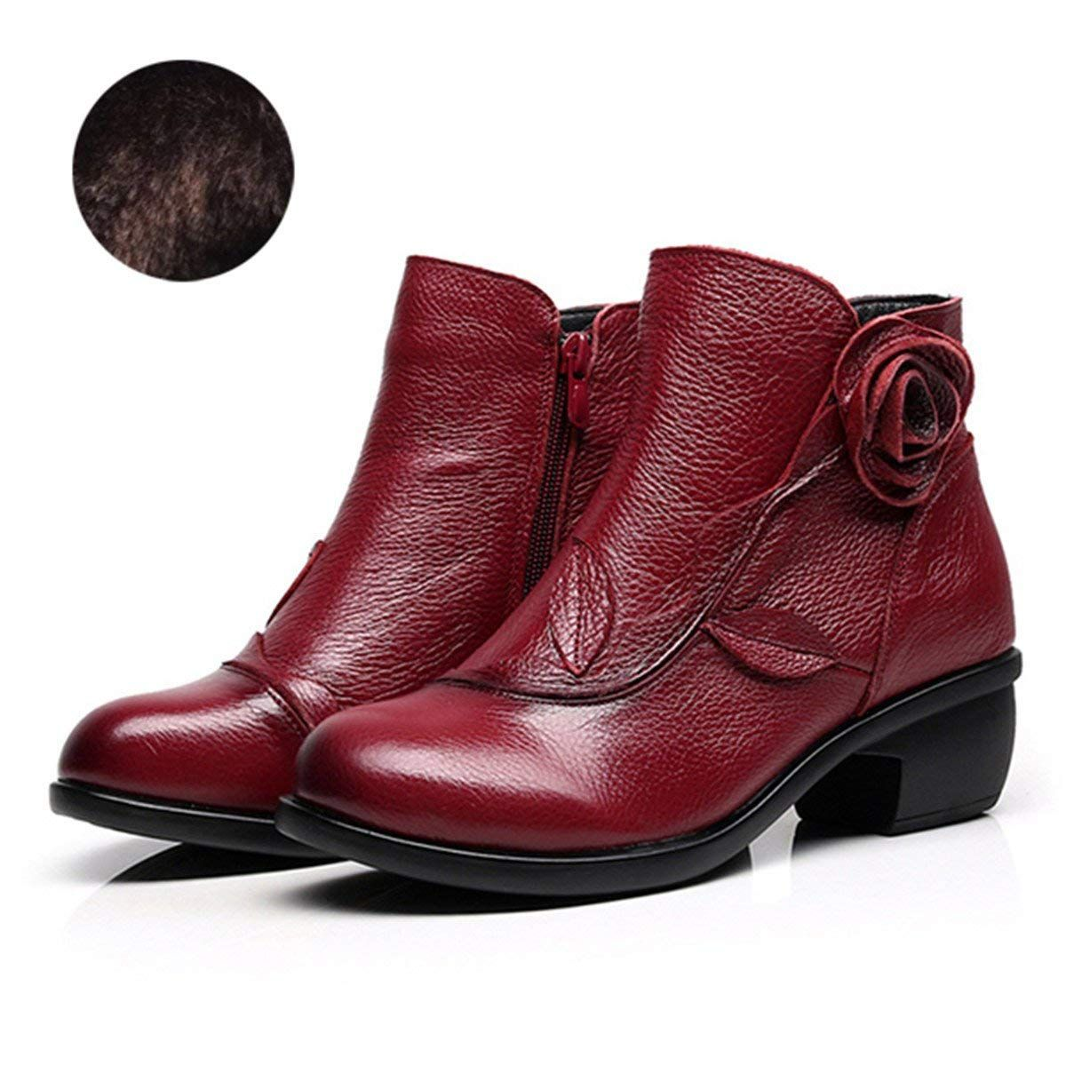 6fe70e3456cce Amazon.com | Socofy Leather Ankle Bootie, Women's Vintage Handmade ...