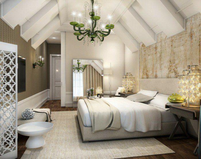 deko ideen schlafzimmer heller teppich wanddesign beleuchtung cooler