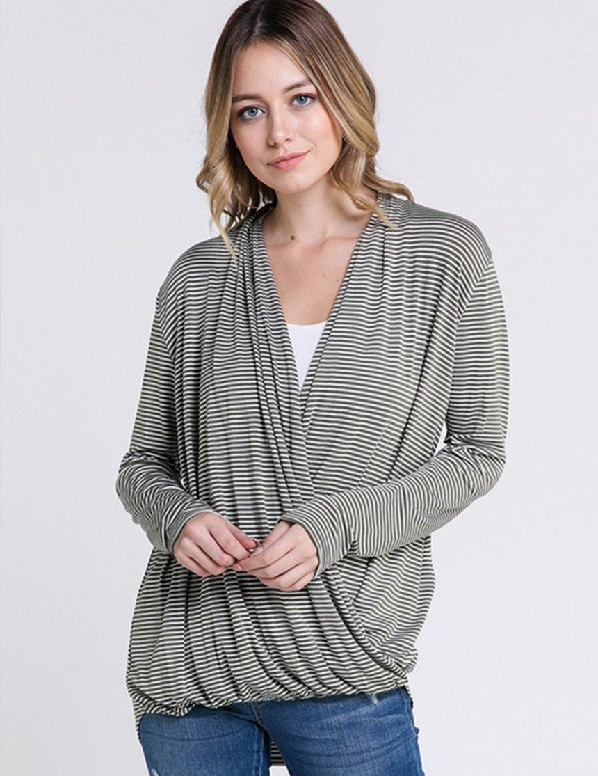 0bad4ddd7c878 A soft jersey maternity and nursing friendly top featuring long sleeves and  a draped wrap v-neckline. Wear this before, during, and after pregnancy.