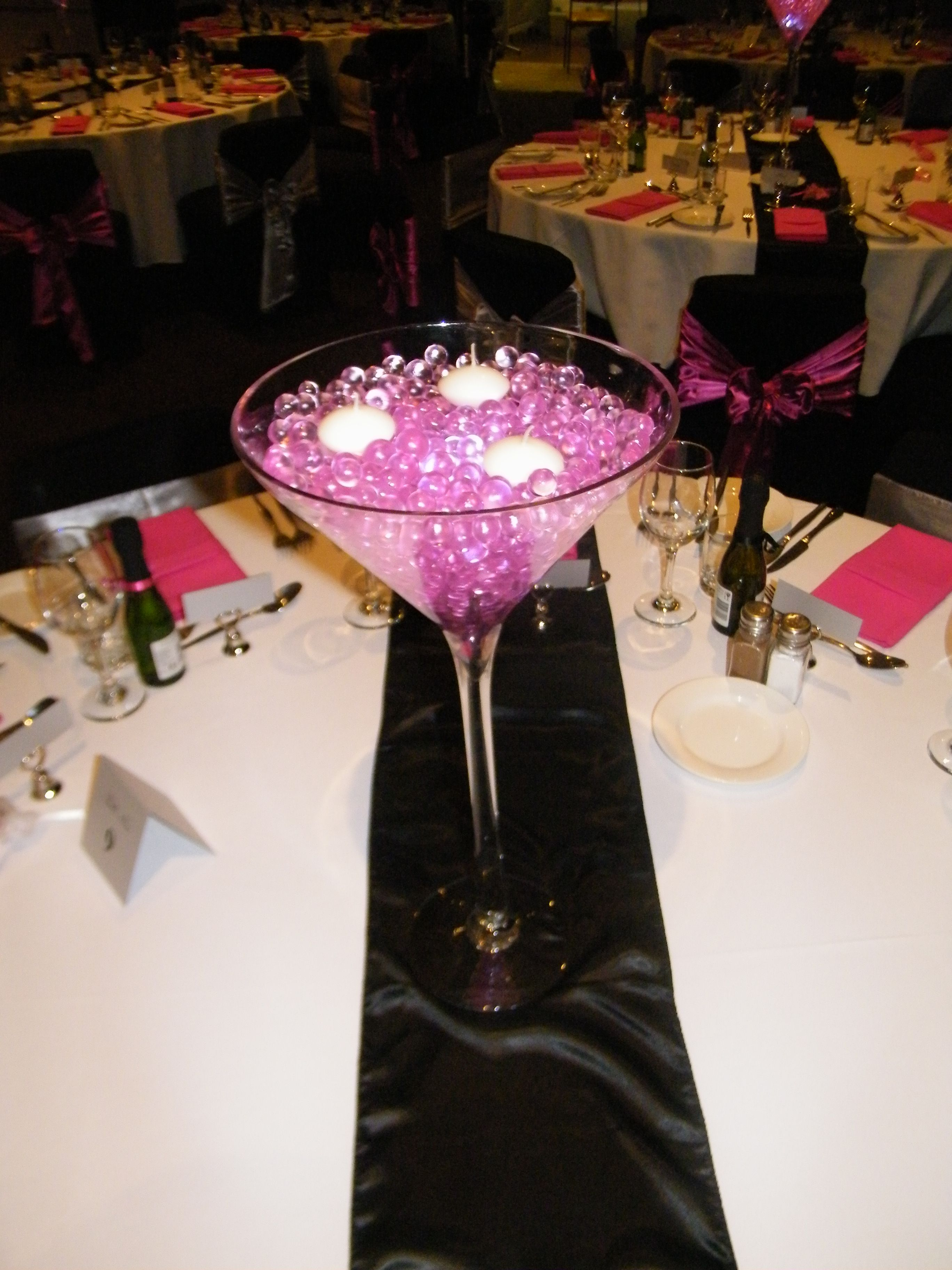 Martini Vase Pink Jelly Fillers LED Submersible Lights with