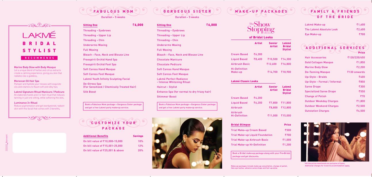 Lakme Salon Bridal Stylist Services & Luminance 3+ Ritual
