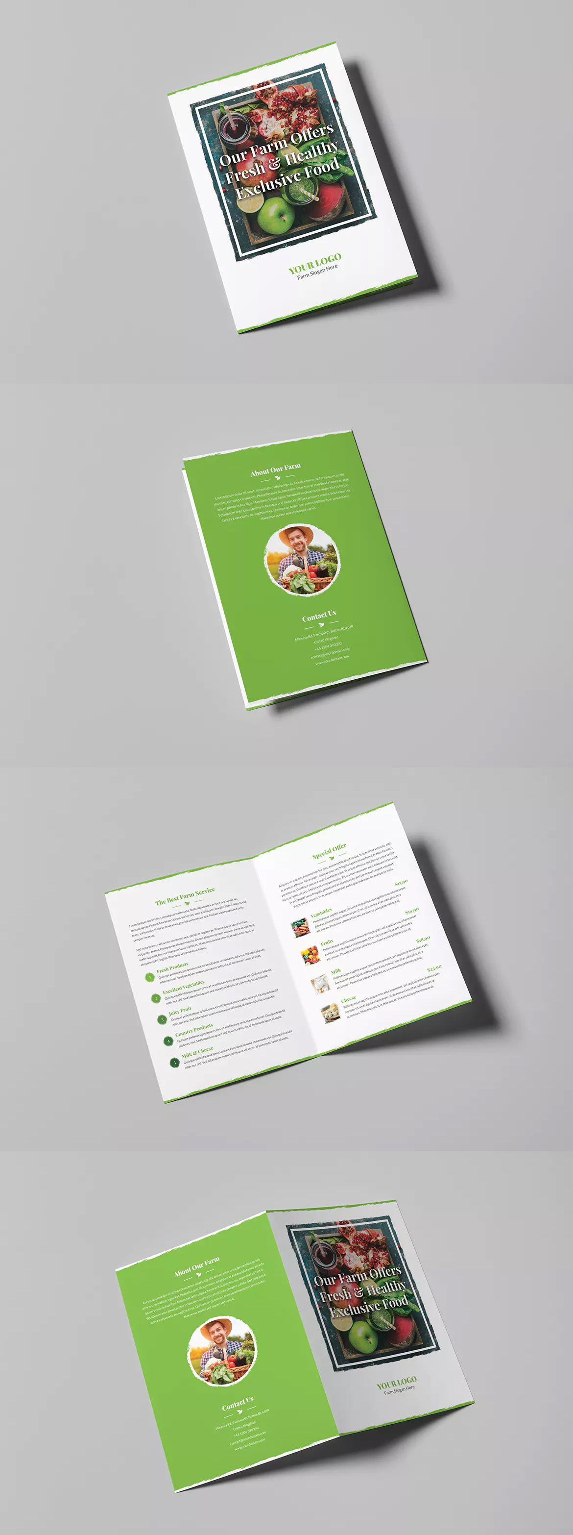 Organic Food Bi-Fold Brochure Template PSD - A4 and US Letter Size ...