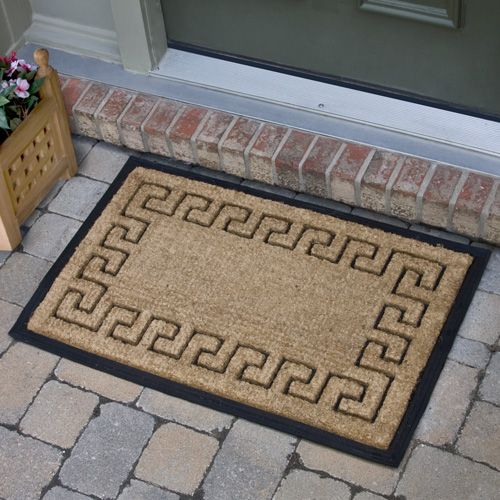 Greek Key Border Rectangular Rubber Coco Mat Front Door Steps Greek Key Coir