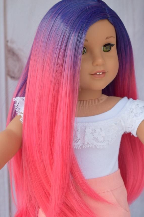 Custom DYED OMBRE Doll Wig for 18 American Girl Doll Heat Safe Tangle Resistant - fits 10-11...