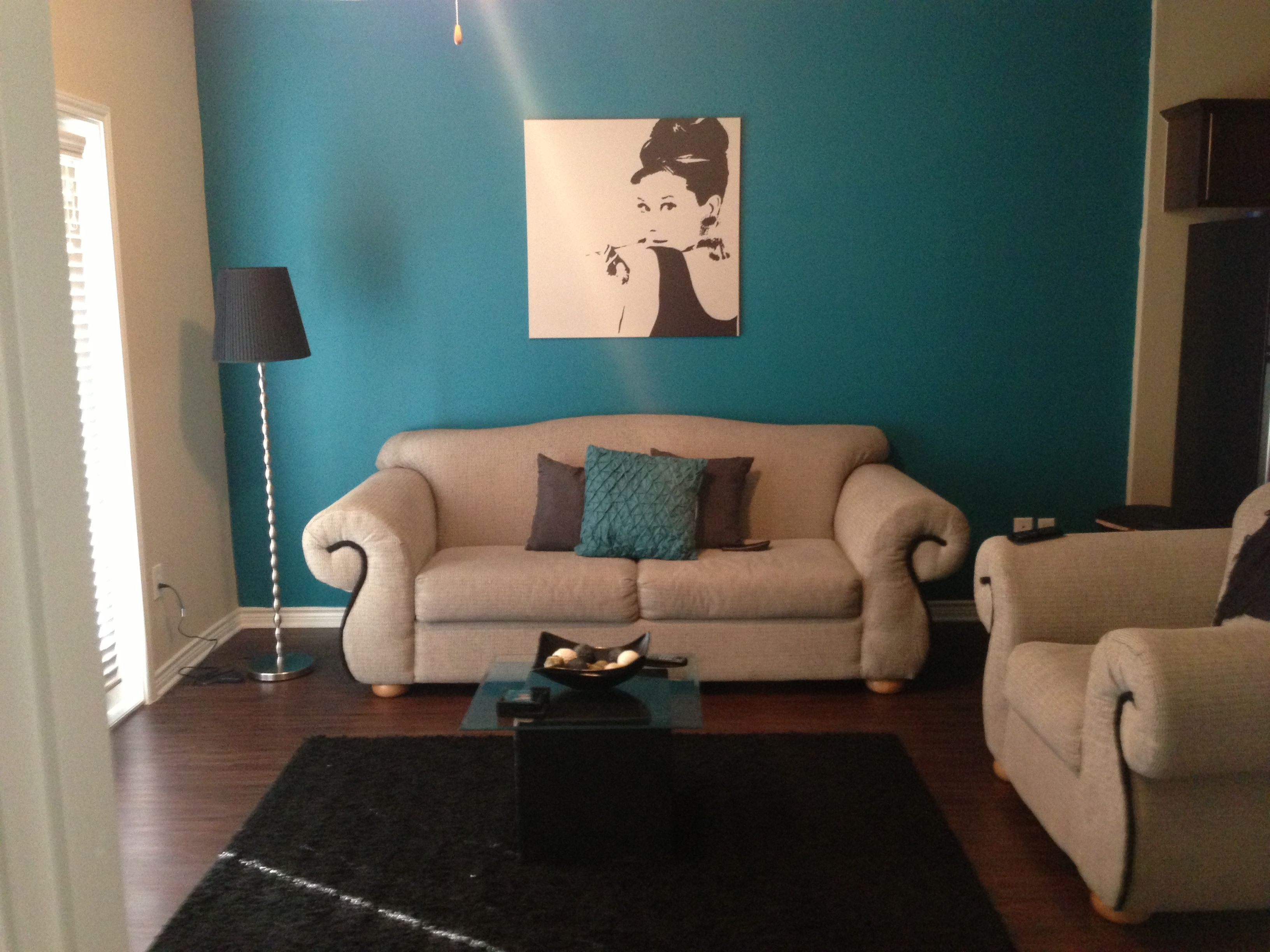 50s glam teal grey and black living room