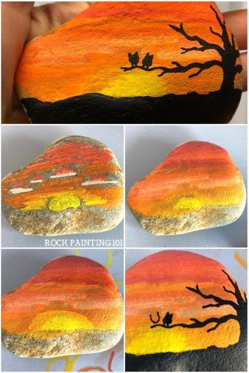 Sunset Rock ~ Farben mischen, um einen Sonnenuntergang auf einem Felsen zu schaf #bemaltekieselsteine