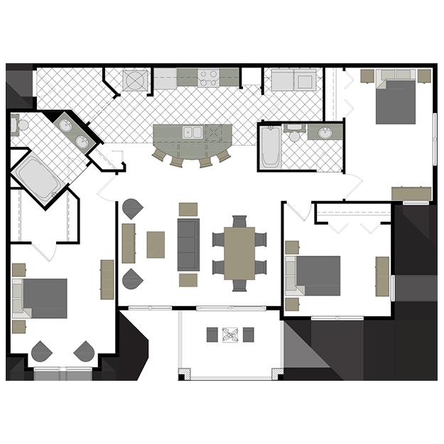 The Somerset 3 bedrooms, 2 bathrooms Floor plans