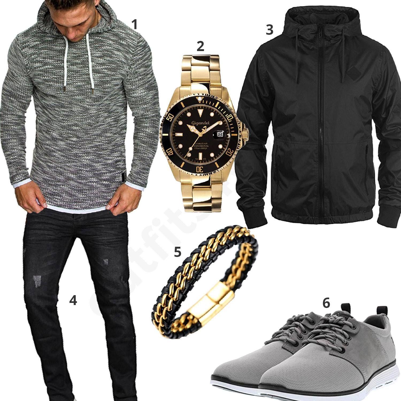 Grau Schwarzes Outfit mit goldener Automatikuhr (m0615
