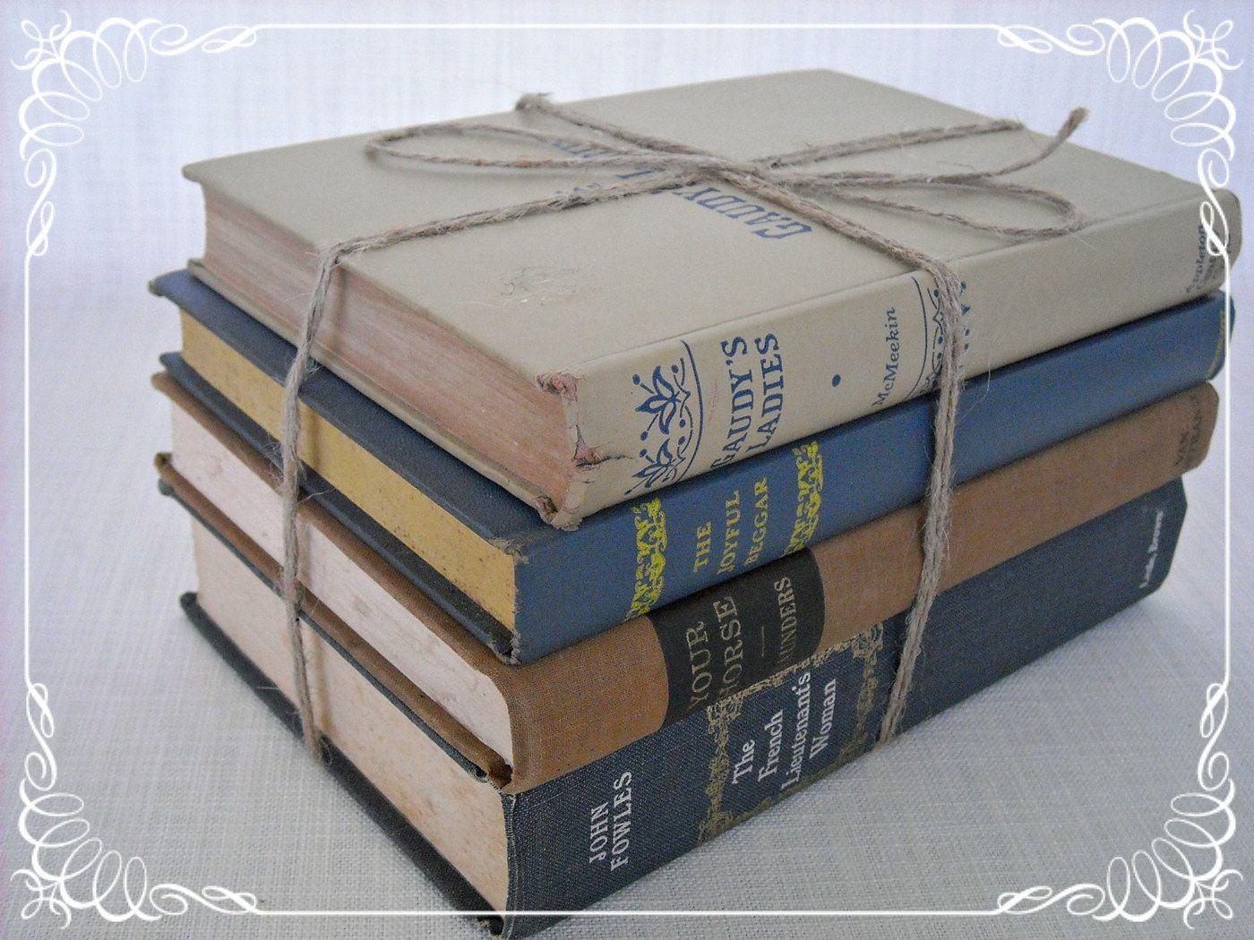 Book Bundle Collection Display Vintage Twine Bound. $18.00, via Etsy.