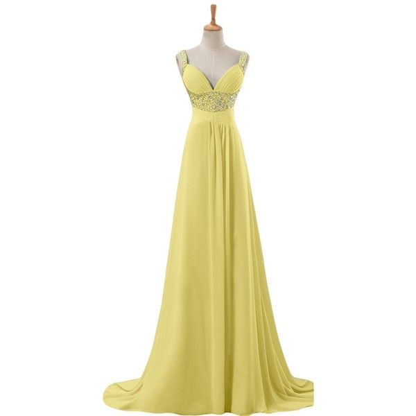 Sunvary 2015 Straps Chiffon Wedding Party Dresses for Wedding Long (£33) ❤ liked on Polyvore featuring dresses, long length dresses, chiffon cocktail dress, beige dress, strappy chiffon dress and strap dress