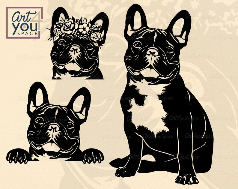 French Bulldog SVG Frenchie with flowers clipart Dog svg
