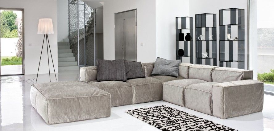 Modular Sofa Contemporary L Shape Sectional Sofa In Cream Color Long Rectangular Black And White Motif Rug On Marble Flooring Of Modern Interior Design Grey  ...