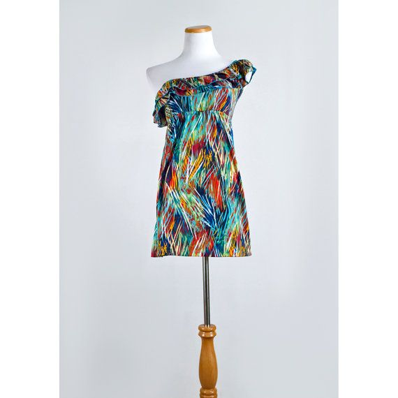 Multicolor Mini Dress / Asymmetrical Ruffled by recyclinghistory, $34.00