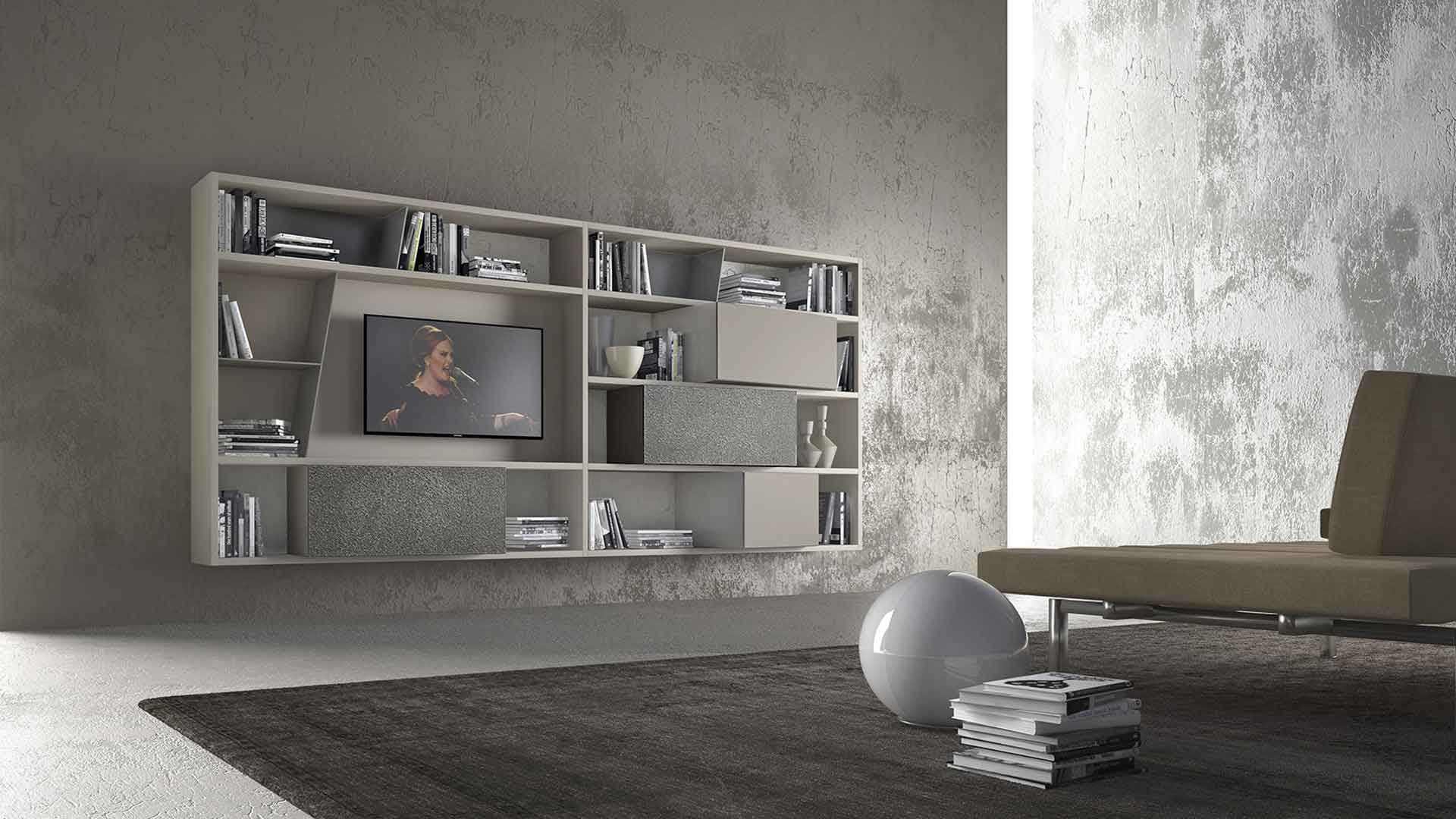 PRESOTTO | CrossART Wall Unit With Beige Seta Matt Lacquered Structure,  Wall Unit With Silver