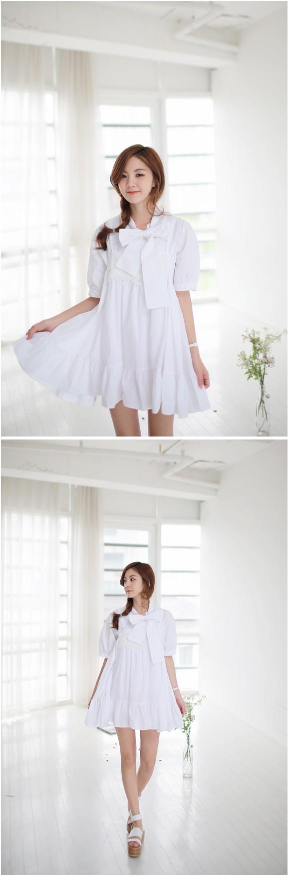 White girlish dress #dress #kooding