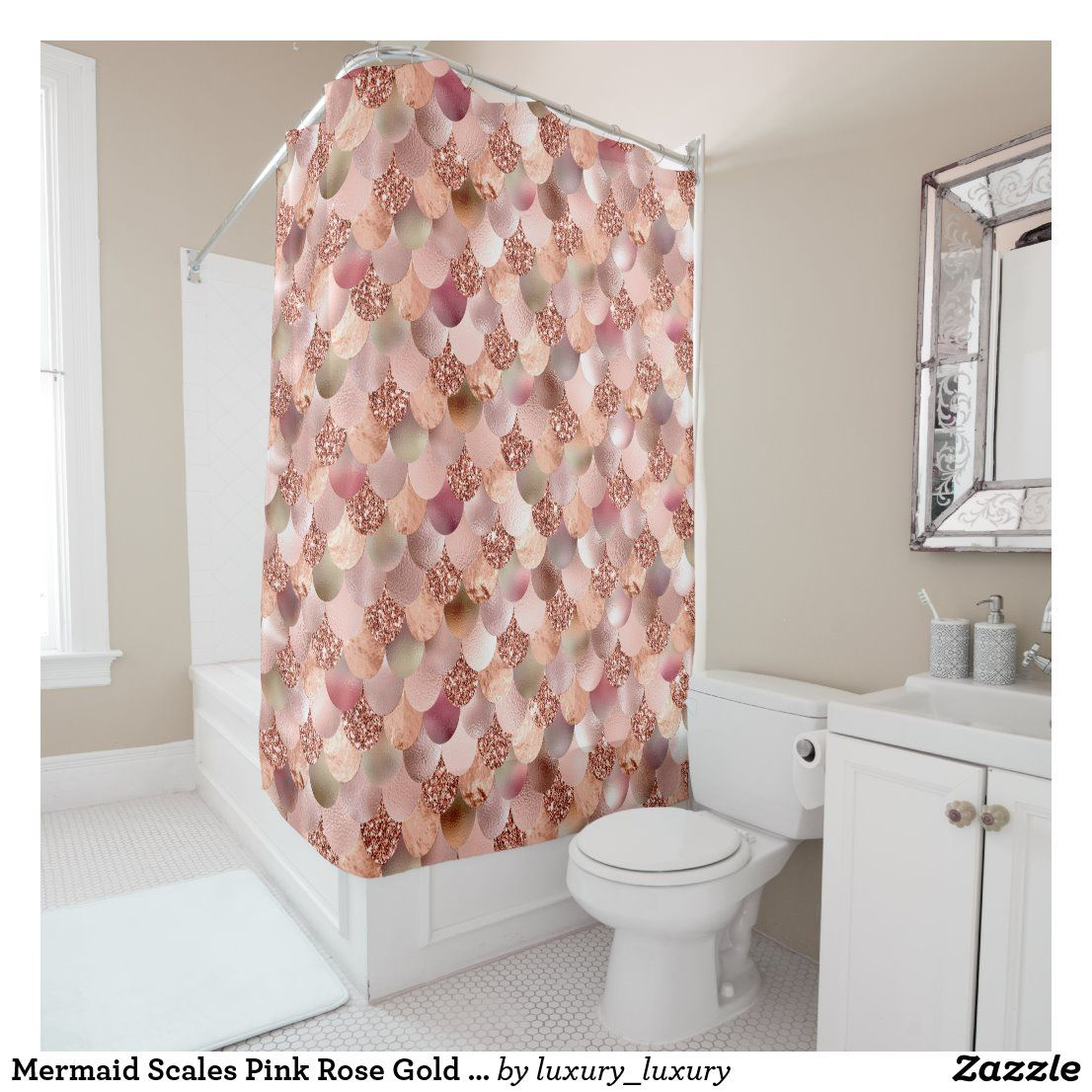 Mermaid Scales Pink Rose Gold Glitter Spark Copper Shower Curtain Zazzle Com In 2020 Rose Gold Glitter Shower Curtain Mermaid Scales