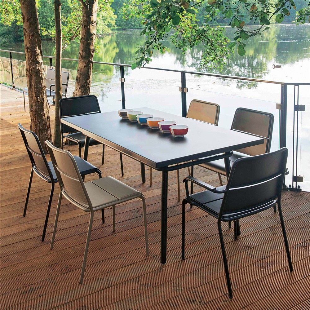 €475 Aluminium Table rectangulaire 160x90 cm anthracite Collection ...