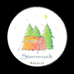Aufkleber Sticker Rund Deko Zelt Zelten Wald Mond