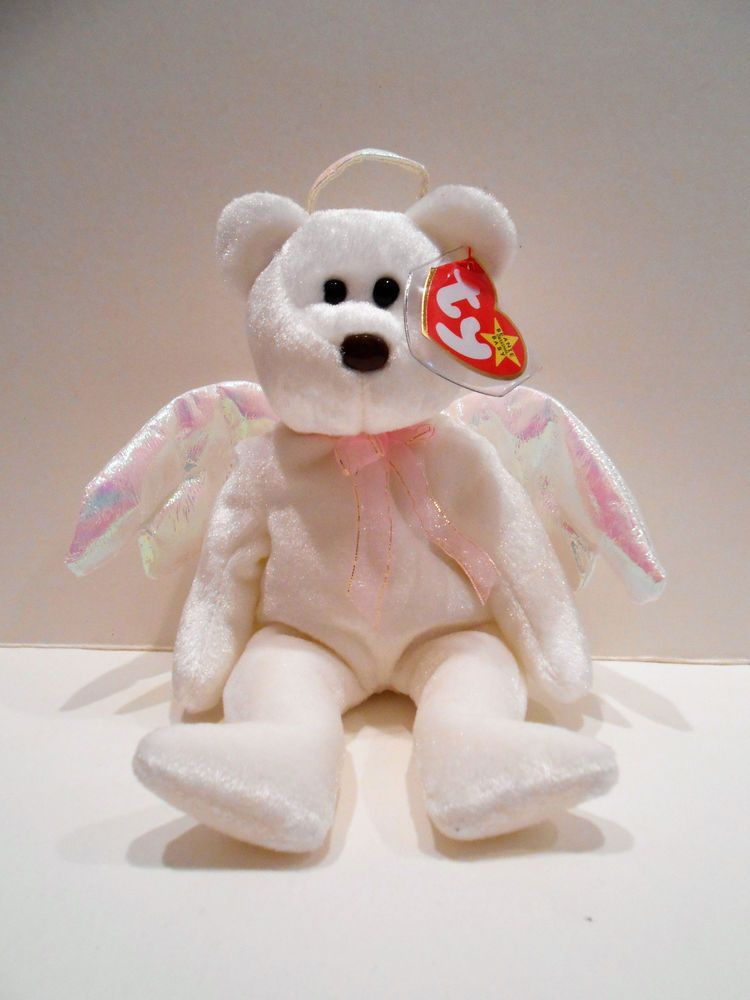 42dd6887554 Ty Beanie Baby White and Pink Halo The Angel Bear Retired With Display Case   BeanieBaby