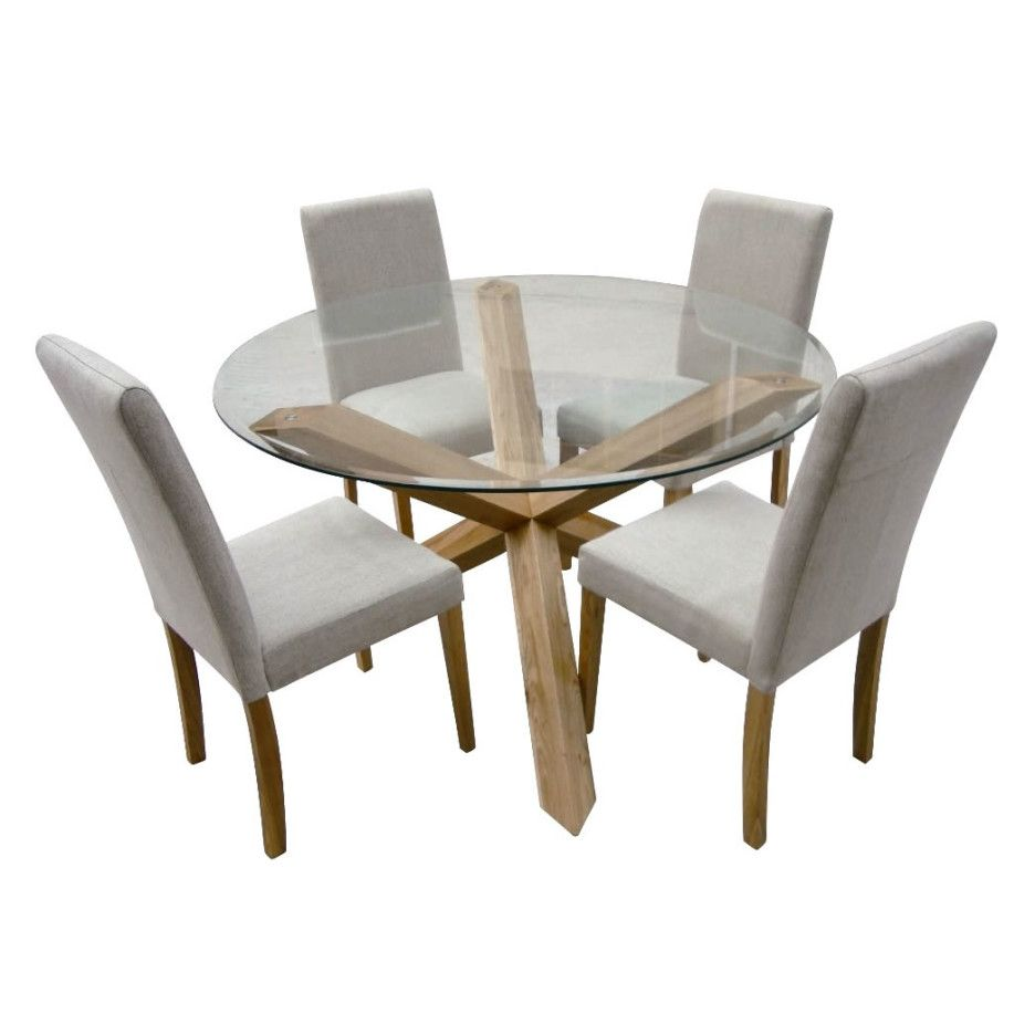 Round Glass Top Dining Table With Unpolished Wooden Legs Combined