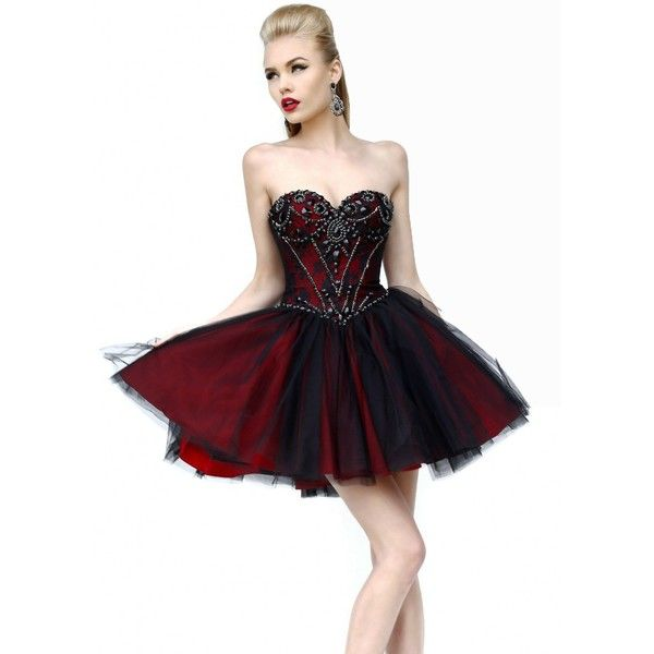 Black/Red 21156 Sherri Hill Prom Dress ($200) ❤ liked on Polyvore ...