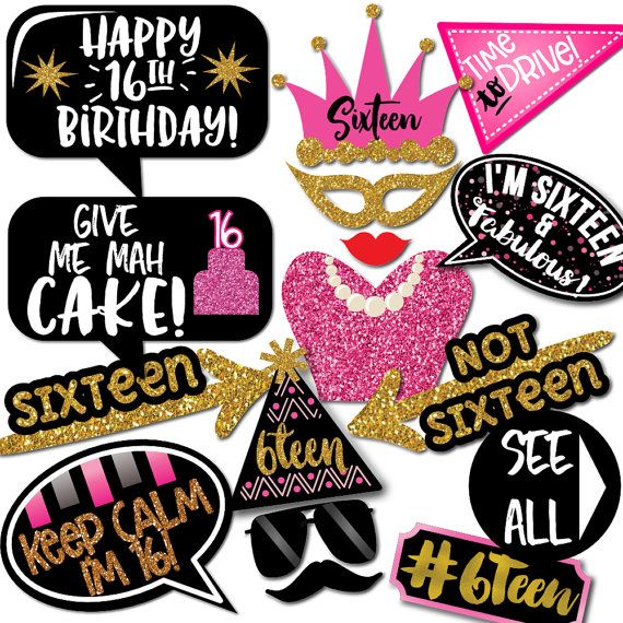 Sweet 16 Birthday Photo Booth Props 31 Printable Party Props Tux