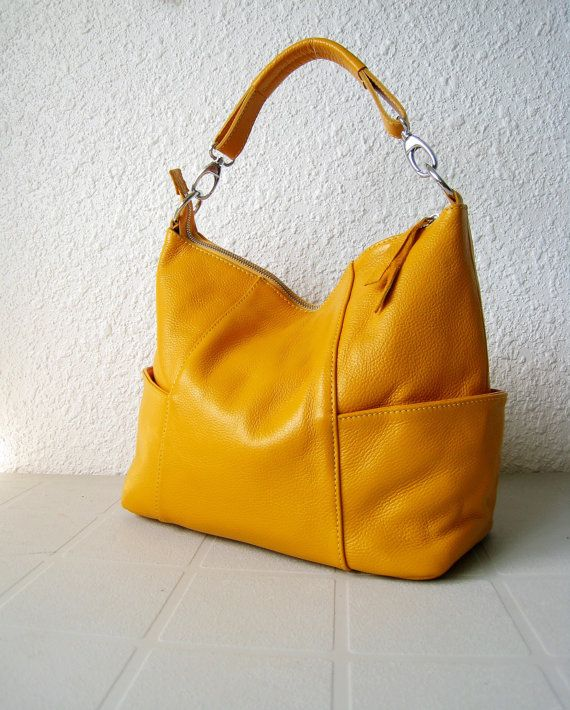11f25c3656 Yellow Leather bag  Leather Handbag  Leather purse  Leather Tote ...