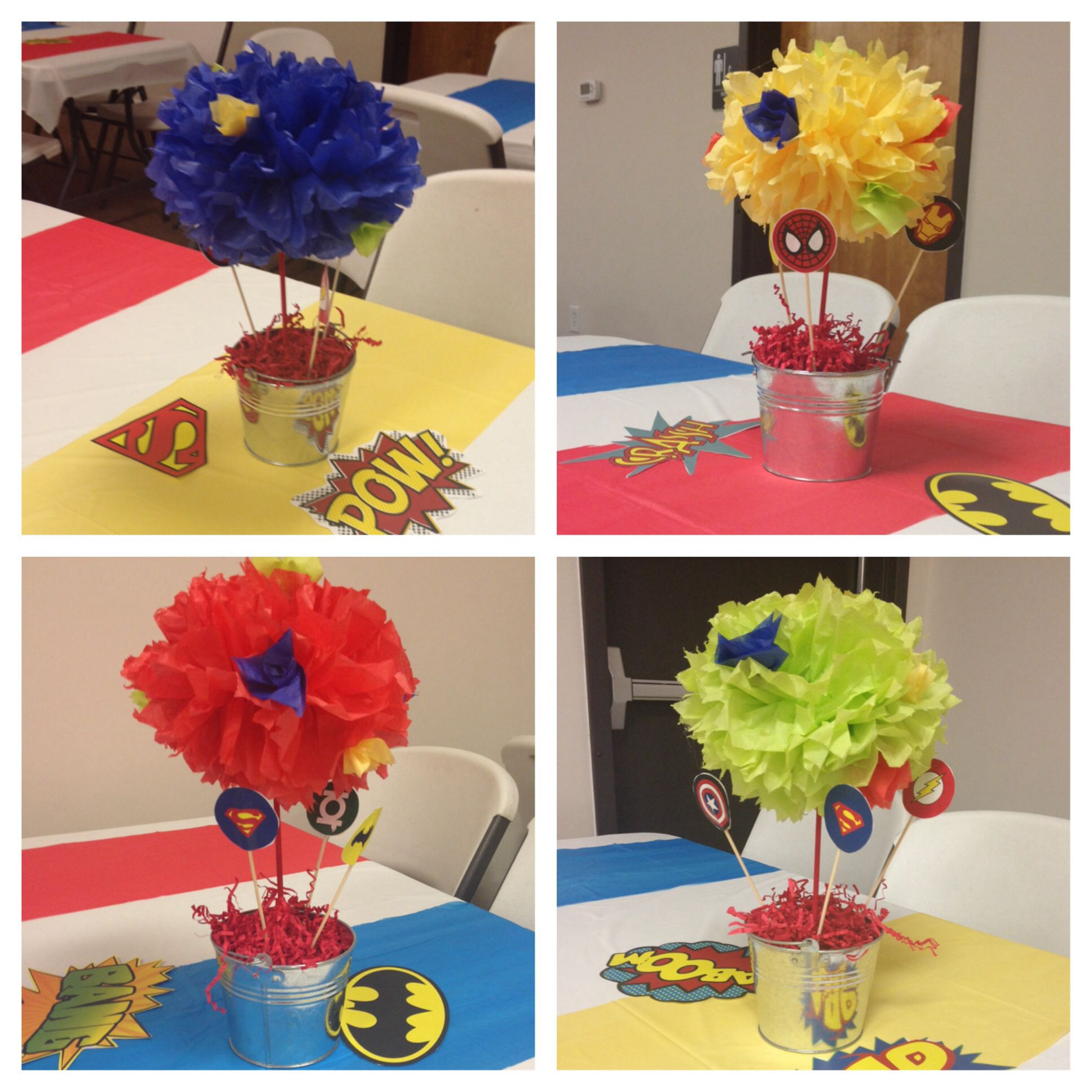 Superhero table decorations pinterest ideas i have made for Decoration chambre super heros