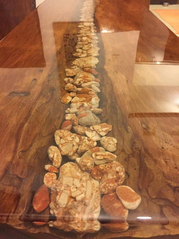 Live Edge Coffee Table With Resin And Sea Rocks River