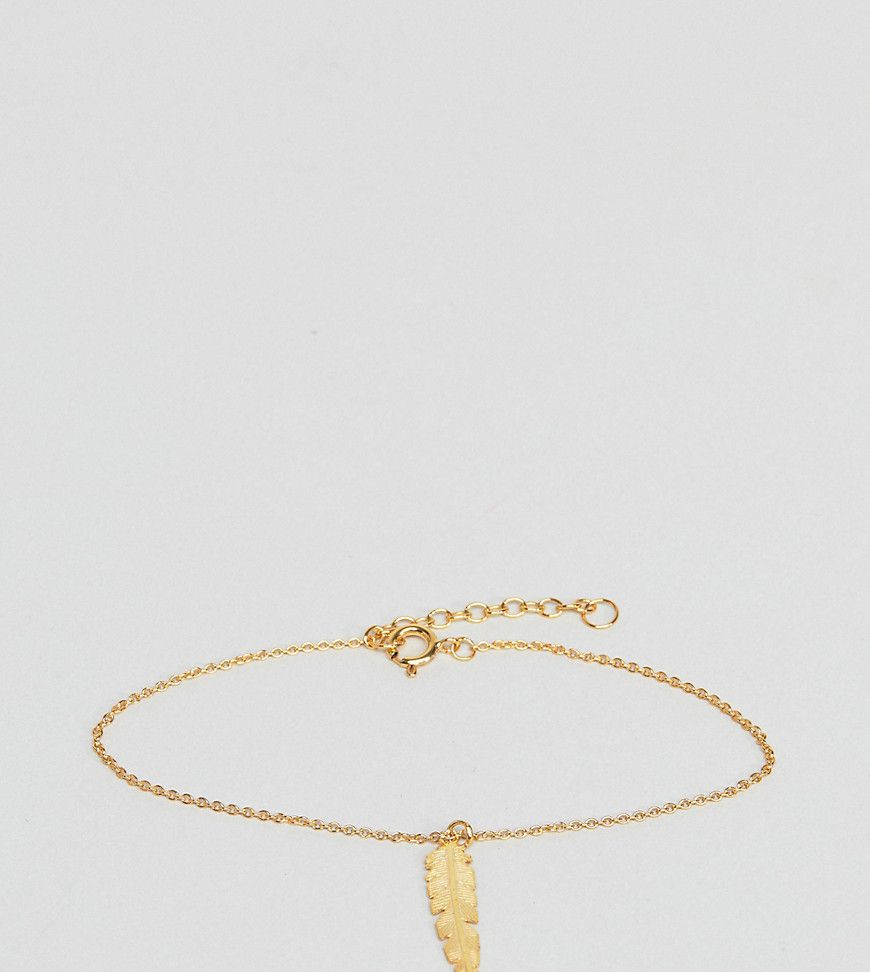 ASOS Gold Plated Sterling Silver Feather Charm Bracelet - Gold