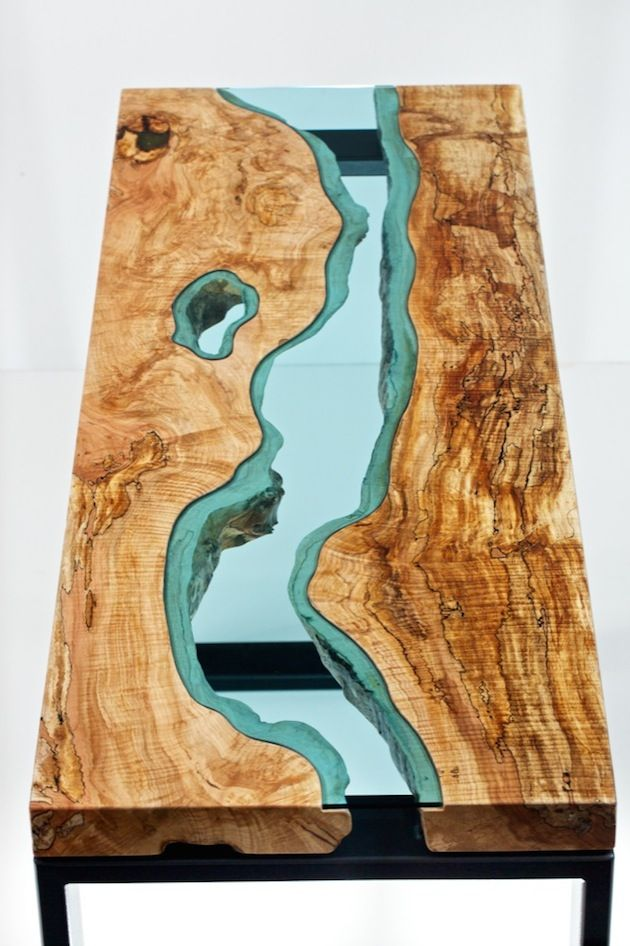 Artist Creates Wooden Tables With Glass Rivers And Lakes Running