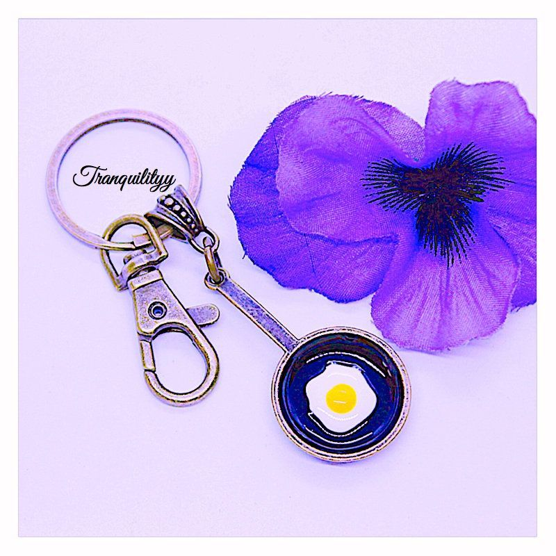 Fried Egg Key Ring ,Breakfast Key Ring Sunny Side up Fried Egg Alloy Antique Bronze Key Ring , By: